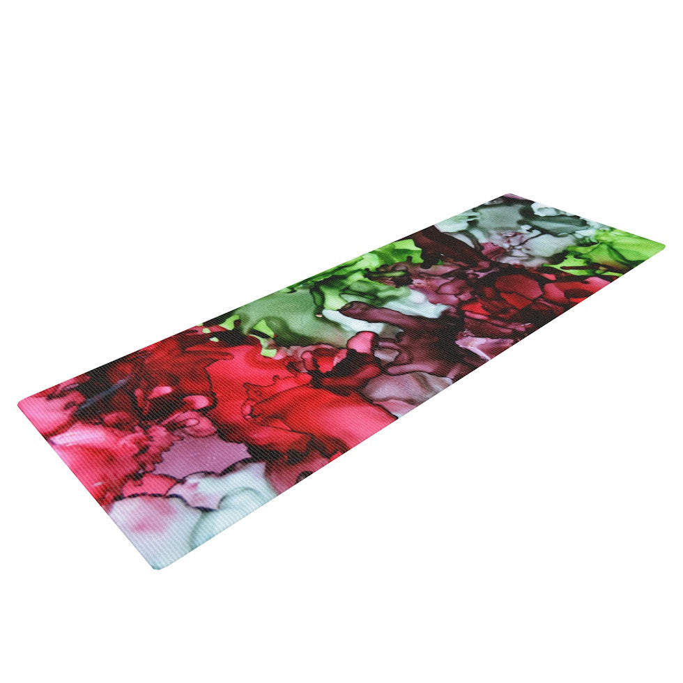 "Claire Day ""TMNT"" Green Maroon Yoga Mat - KESS InHouse  - 1"
