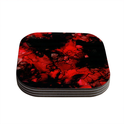 "Claire Day ""Vesuvius"" Red Dark Coasters (Set of 4) - Outlet Item"