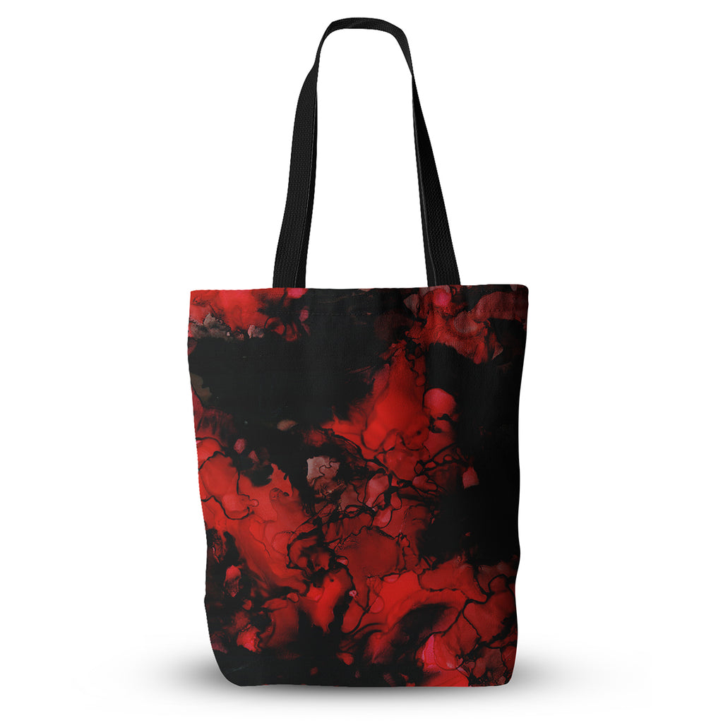 "Claire Day ""Vesuvius"" Red Dark Everything Tote Bag - KESS InHouse  - 1"