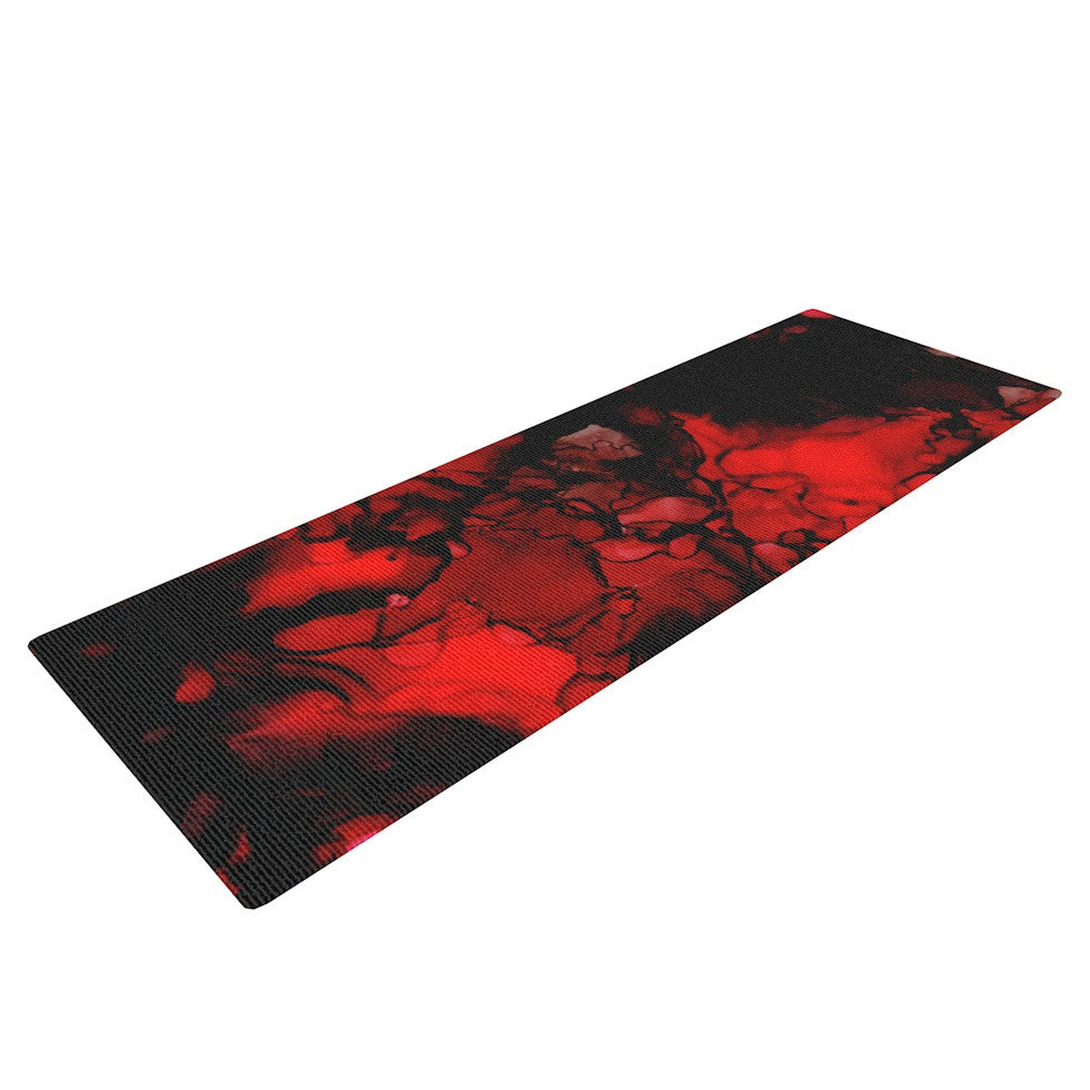 "Claire Day ""Vesuvius"" Red Dark Yoga Mat - KESS InHouse  - 1"