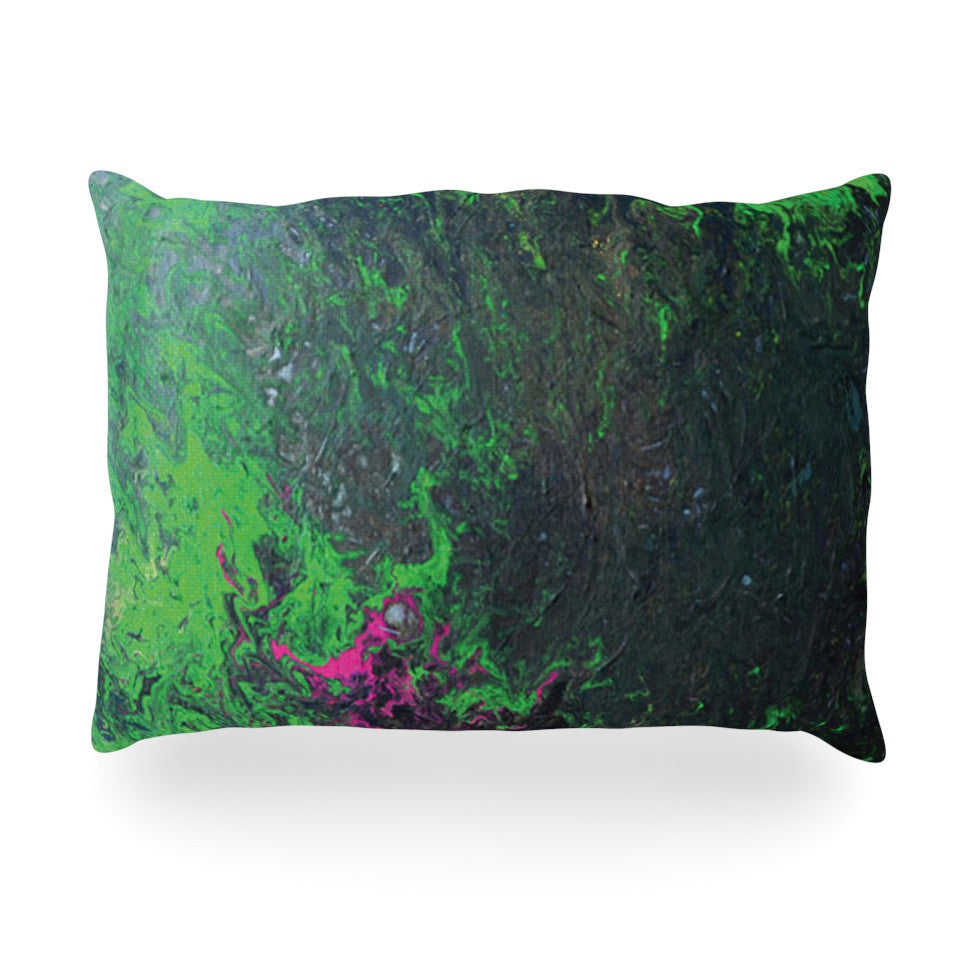 "Claire Day ""Acid Rain"" Green Black Oblong Pillow - KESS InHouse"