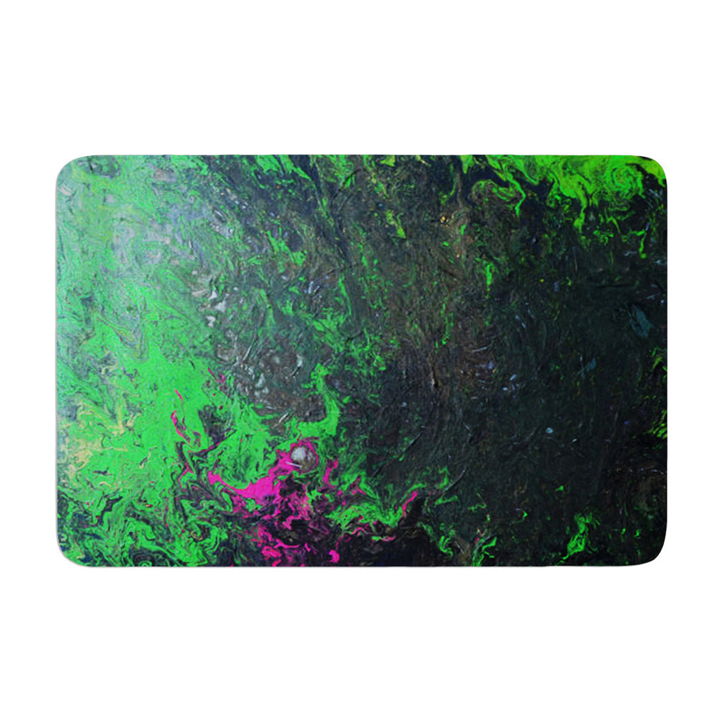 "Claire Day ""Acid Rain"" Green Black Memory Foam Bath Mat - KESS InHouse"