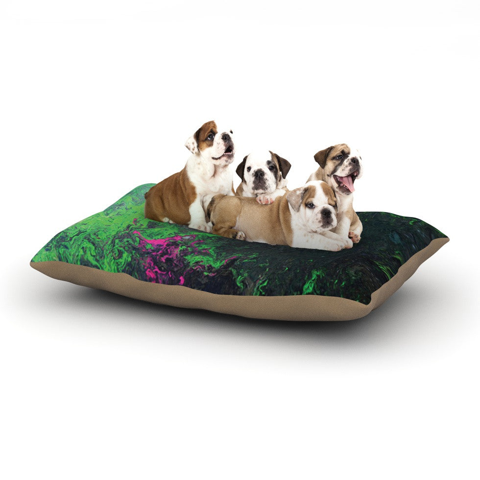 "Claire Day ""Acid Rain"" Green Black Dog Bed - KESS InHouse  - 1"