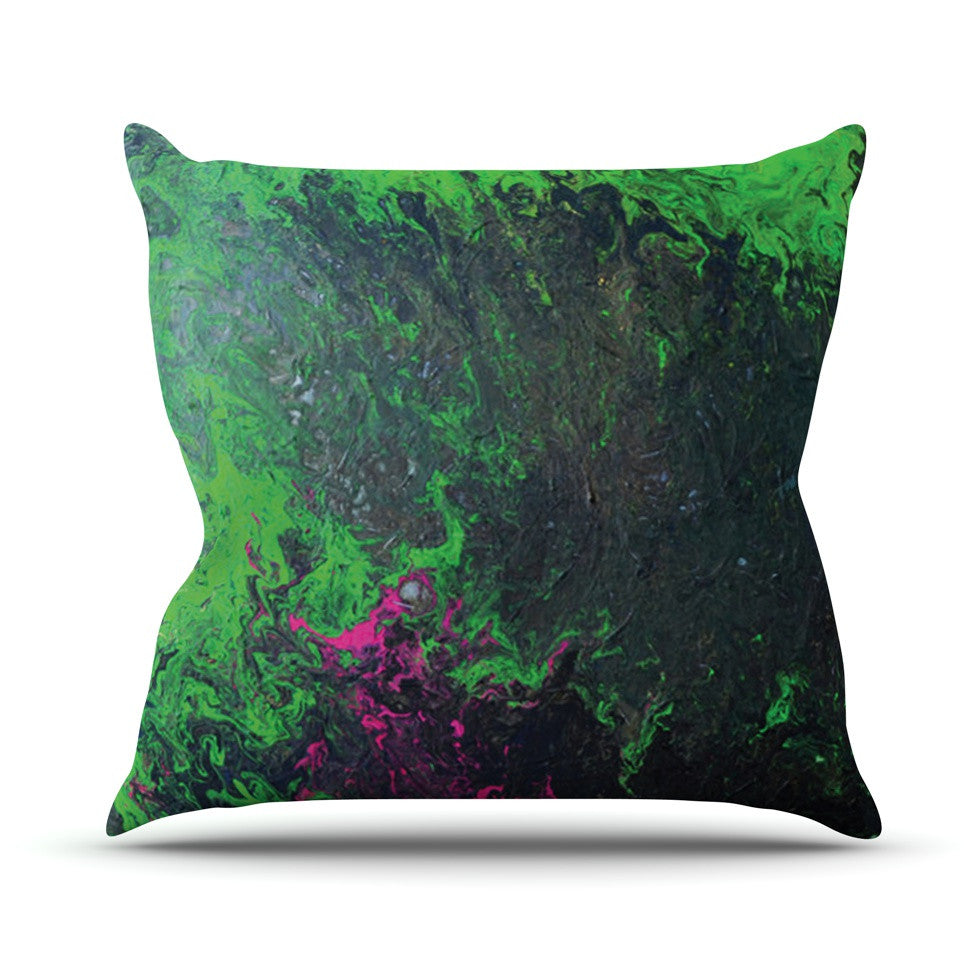 "Claire Day ""Acid Rain"" Green Black Throw Pillow - KESS InHouse  - 1"
