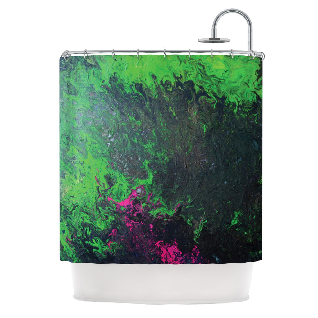 "Claire Day ""Acid Rain"" Green Black Shower Curtain - KESS InHouse"