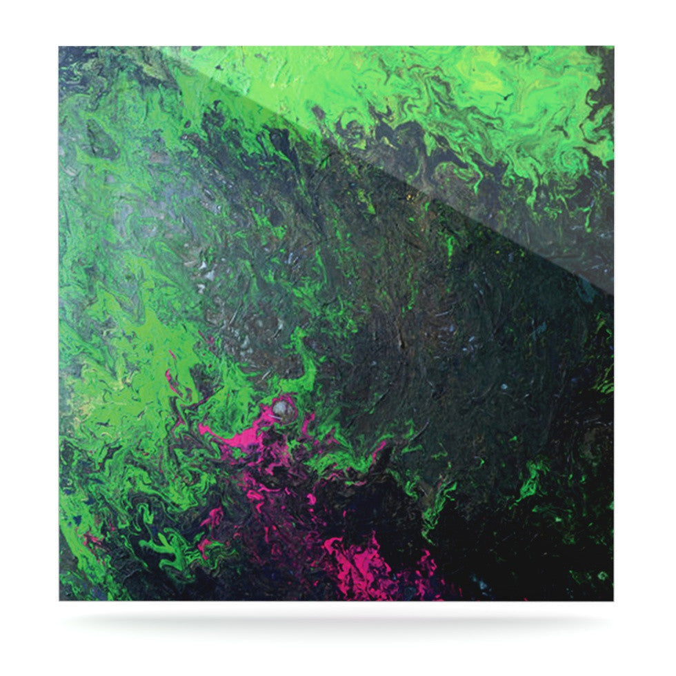 "Claire Day ""Acid Rain"" Green Black Luxe Square Panel - KESS InHouse  - 1"