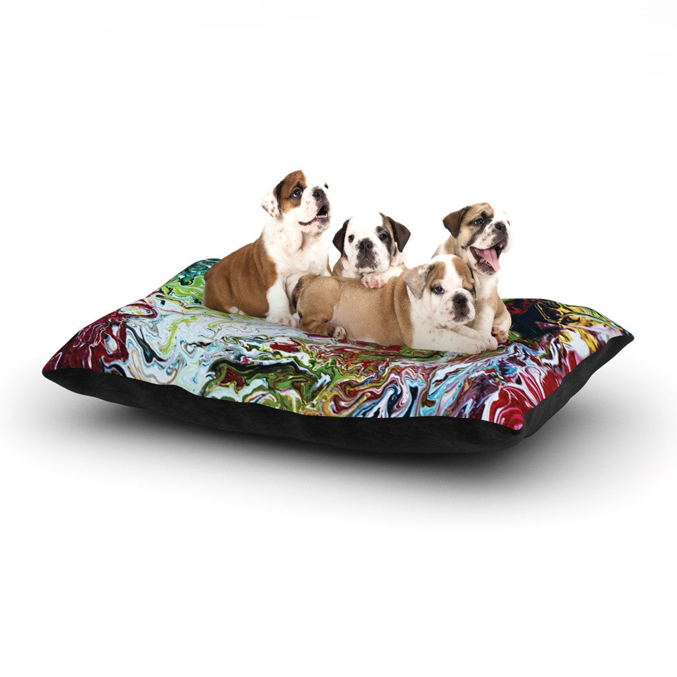"Claire Day ""Chaos"" Red White Dog Bed - KESS InHouse  - 1"