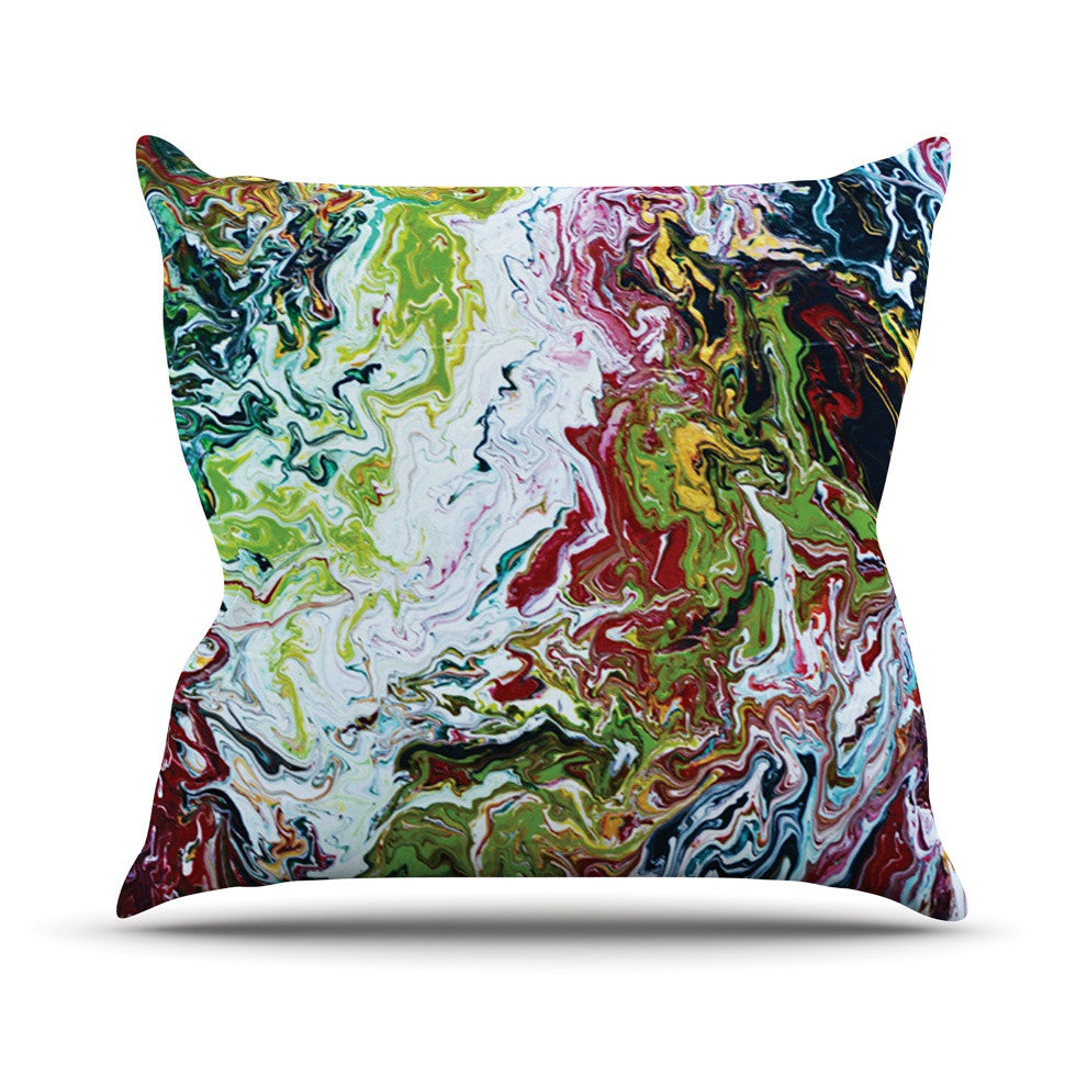 "Claire Day ""Chaos"" Red White Throw Pillow - KESS InHouse  - 1"
