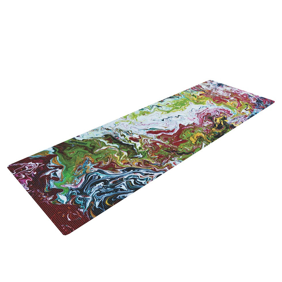 "Claire Day ""Chaos"" Red White Yoga Mat - KESS InHouse  - 1"