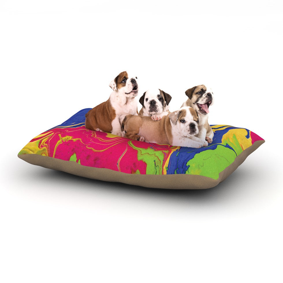 "Claire Day ""Escaping Reality"" Green Pink Dog Bed - KESS InHouse  - 1"