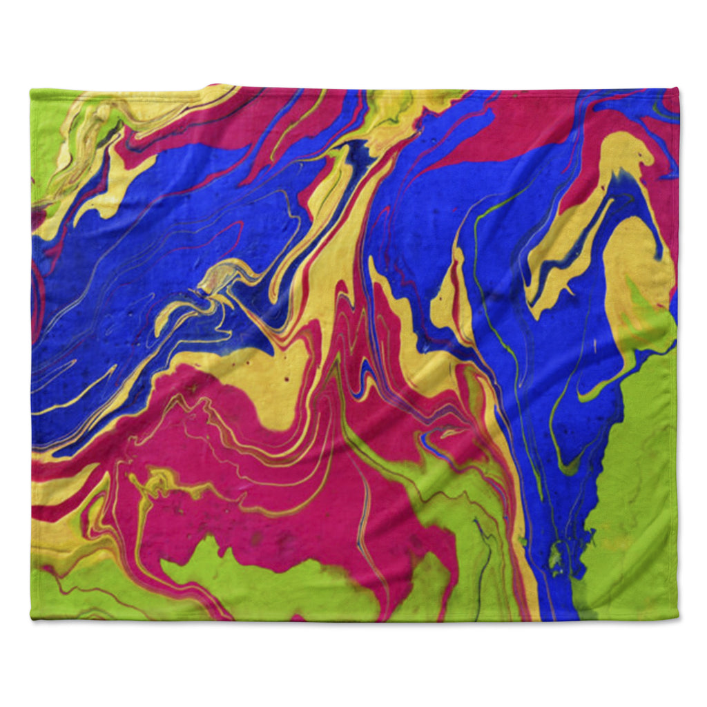 "Claire Day ""Escaping Reality"" Green Pink Fleece Throw Blanket"