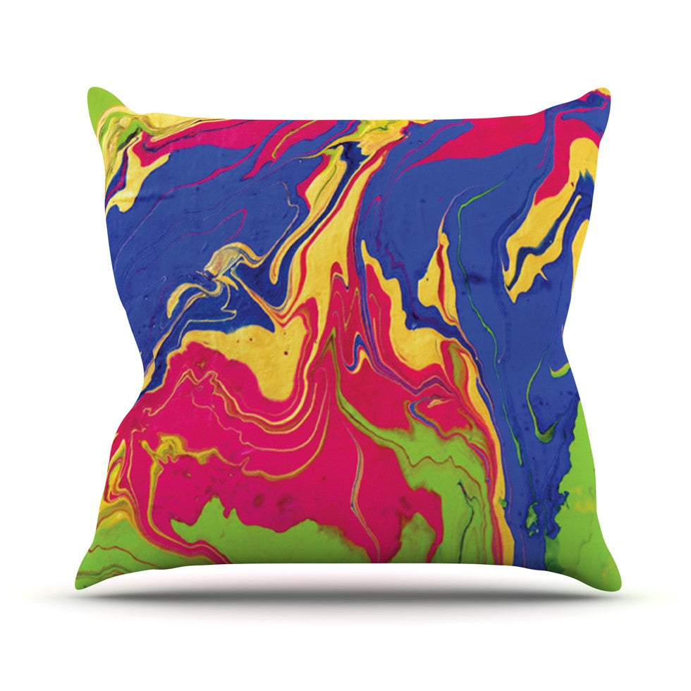 "Claire Day ""Escaping Reality"" Green Pink Throw Pillow - KESS InHouse  - 1"