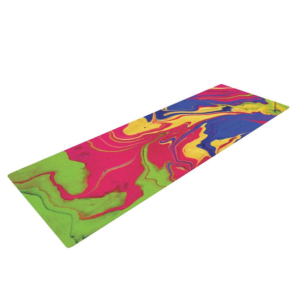"Claire Day ""Escaping Reality"" Green Pink Yoga Mat - KESS InHouse  - 1"