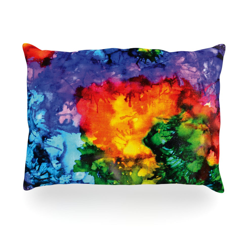"Claire Day ""Karma"" Rainbow Paint Oblong Pillow - KESS InHouse"