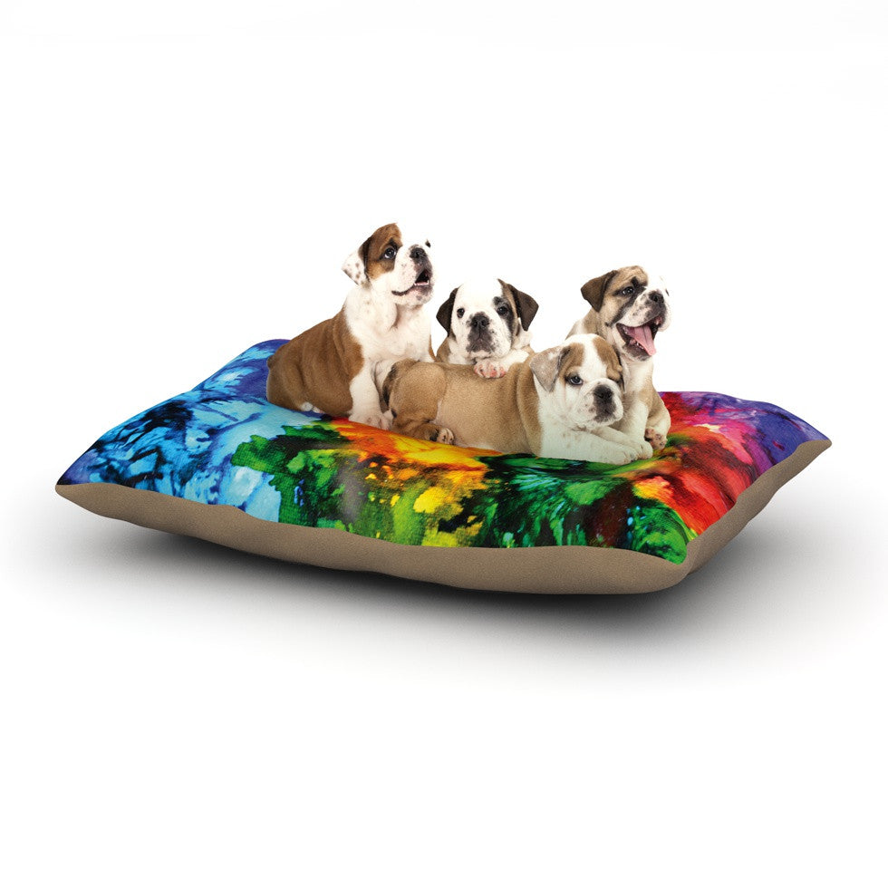 "Claire Day ""Karma"" Rainbow Paint Dog Bed - KESS InHouse  - 1"
