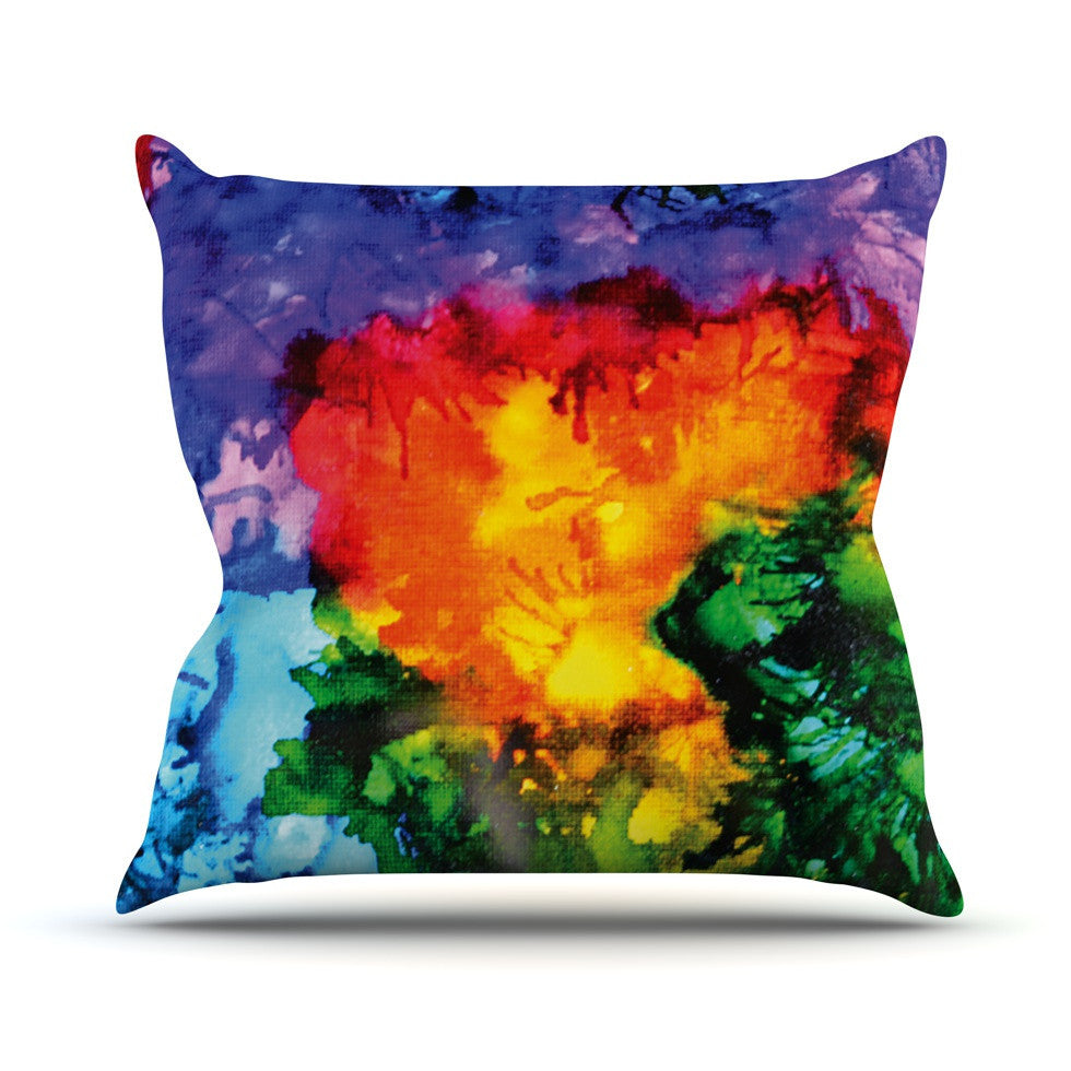 "Claire Day ""Karma"" Rainbow Paint Outdoor Throw Pillow - KESS InHouse  - 1"
