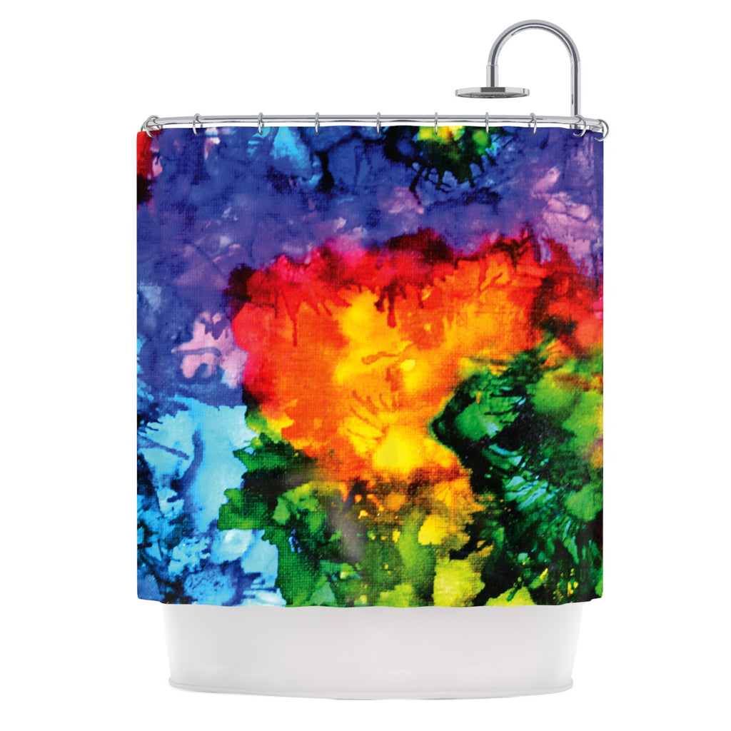 "Claire Day ""Karma"" Rainbow Paint Shower Curtain - KESS InHouse"