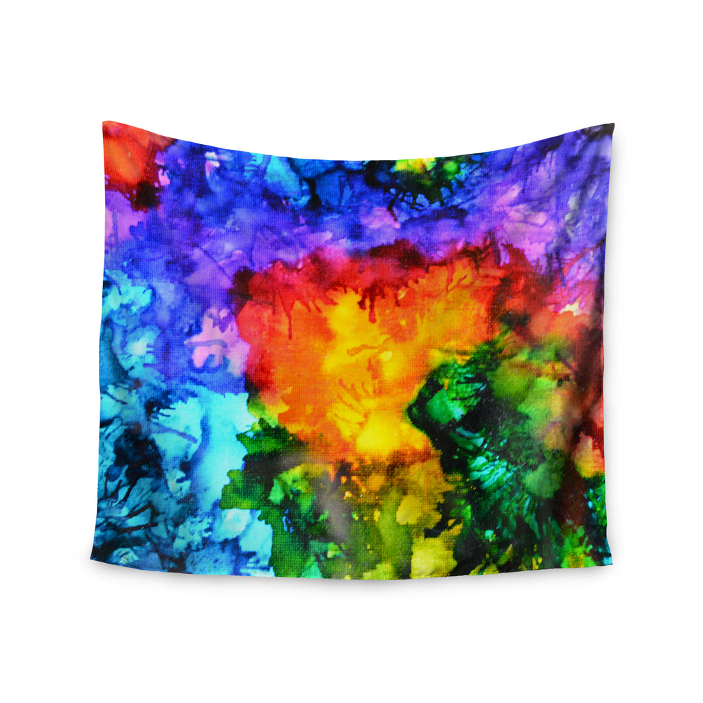 "Claire Day ""Karma"" Rainbow Paint Wall Tapestry - KESS InHouse  - 1"