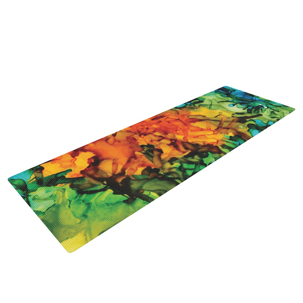 "Claire Day ""Lowry"" Green Blue Yoga Mat - KESS InHouse  - 1"
