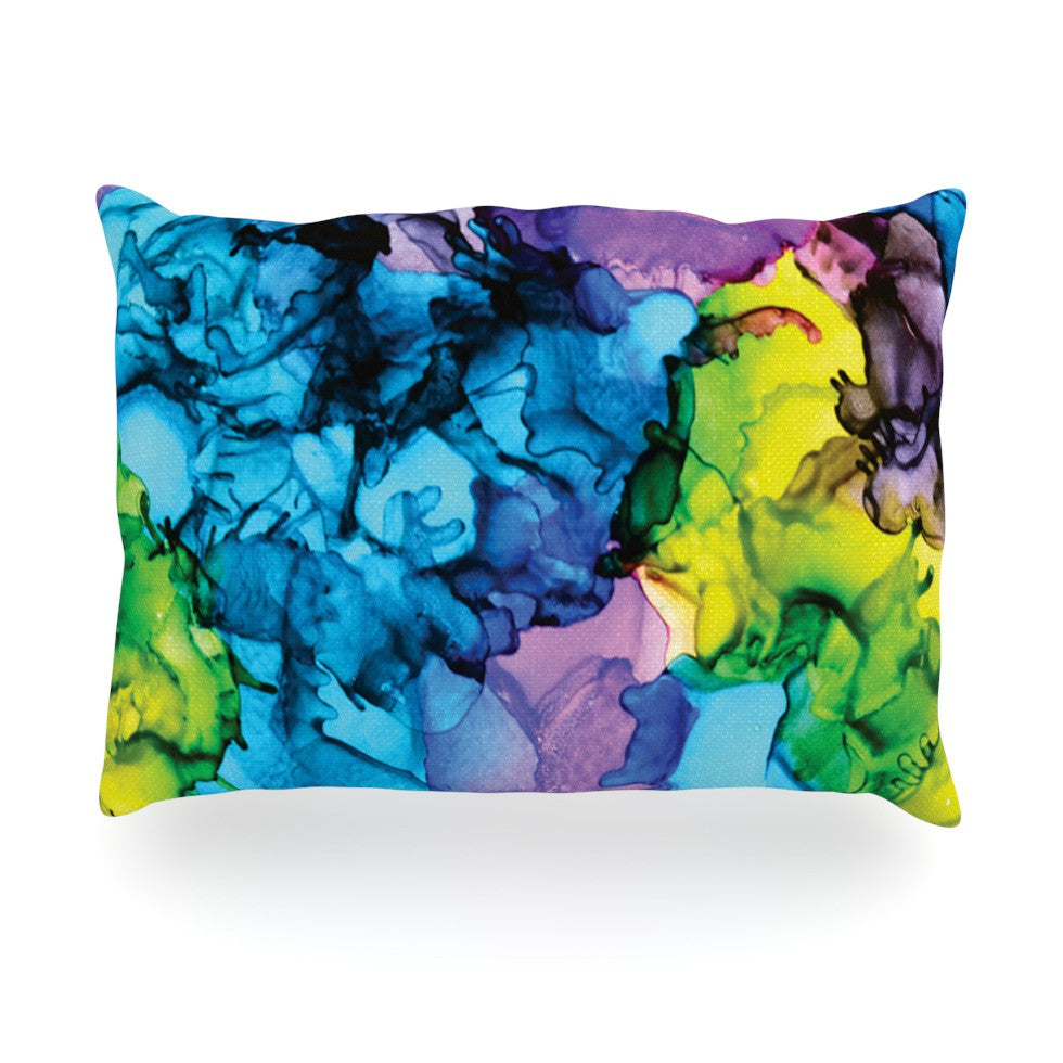 "Claire Day ""Mermaids"" Blue Paint Oblong Pillow - KESS InHouse"