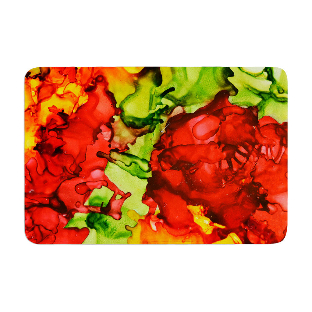 "Claire Day ""One Love"" Red Orange Memory Foam Bath Mat - KESS InHouse"