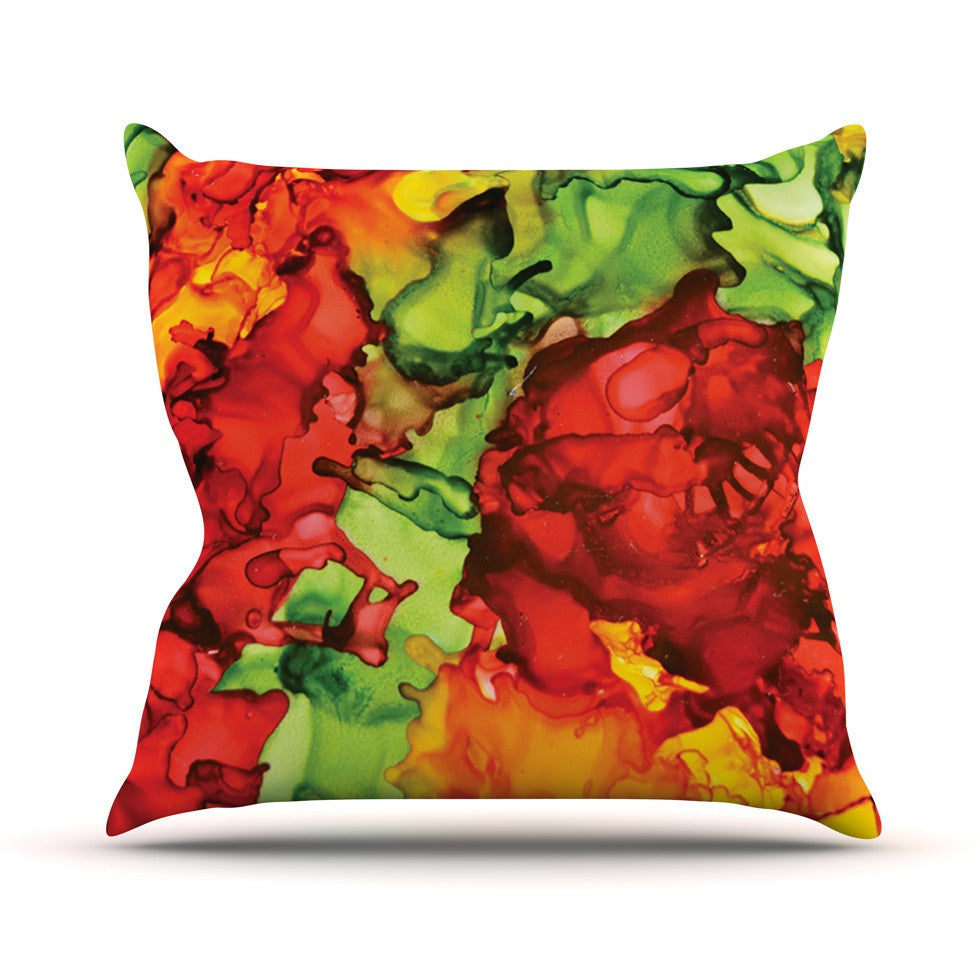 "Claire Day ""One Love"" Red Orange Outdoor Throw Pillow - KESS InHouse  - 1"