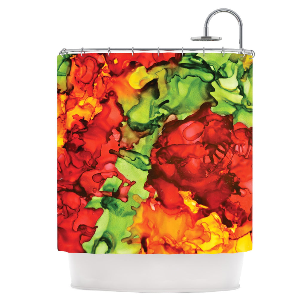 "Claire Day ""One Love"" Red Orange Shower Curtain - KESS InHouse"