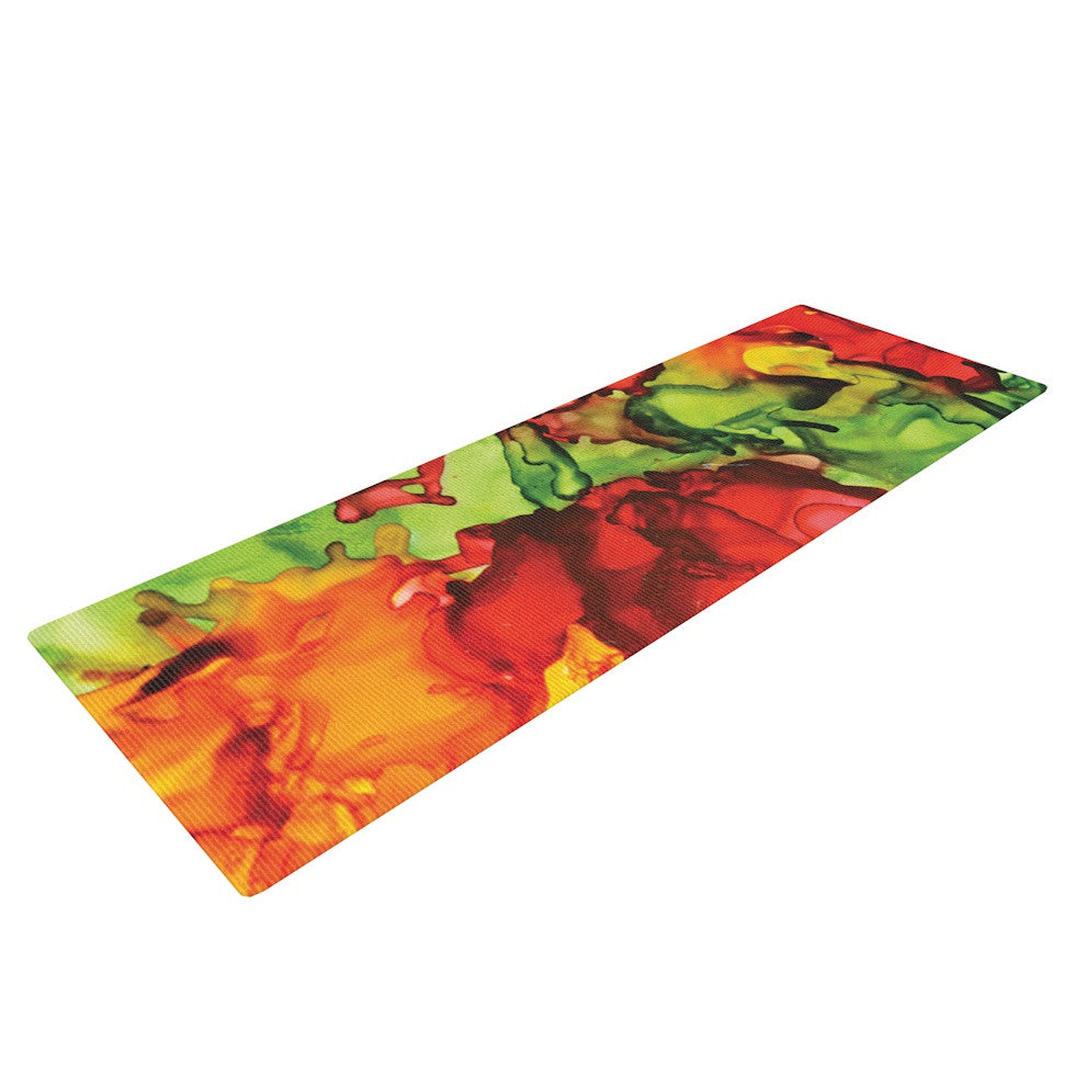 "Claire Day ""One Love"" Red Orange Yoga Mat - KESS InHouse  - 1"
