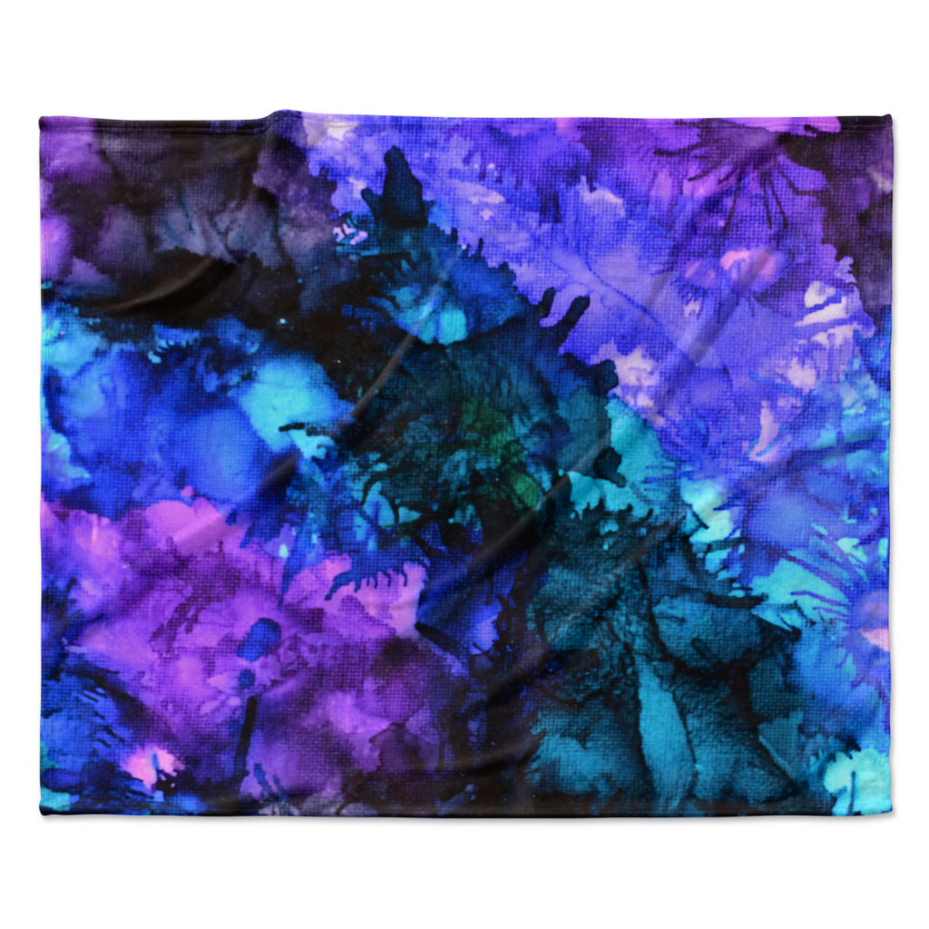 "Claire Day ""Soul Searching"" Blue Purple Fleece Throw Blanket"