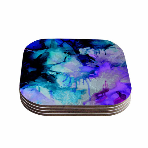 "Claire Day ""Lakia"" Blue Purple Coasters (Set of 4) - Outlet Item"