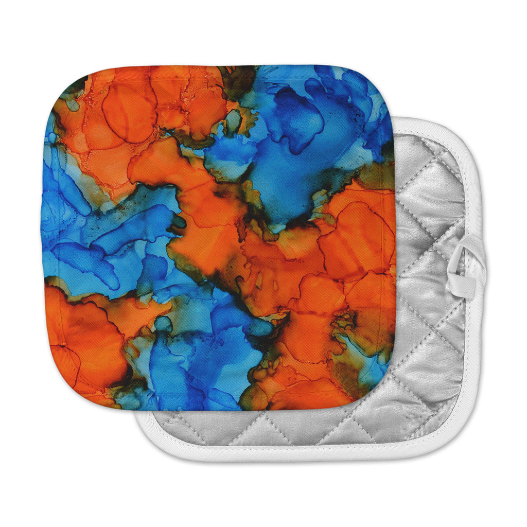 "Claire Day ""Mile High"" Blue Orange Painting Pot Holder"