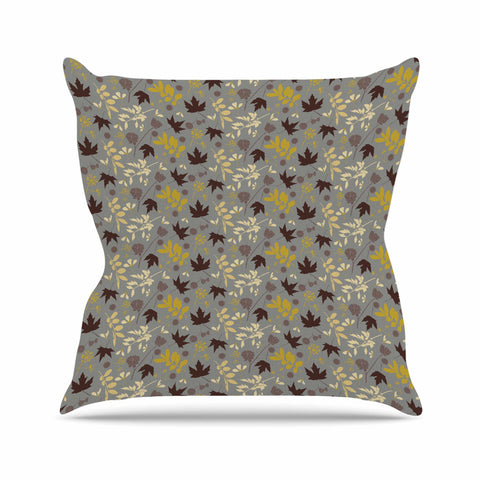 "Mayacoa Studio ""Fall Leaves"" Gray Floral Outdoor Throw Pillow - Outlet Item"