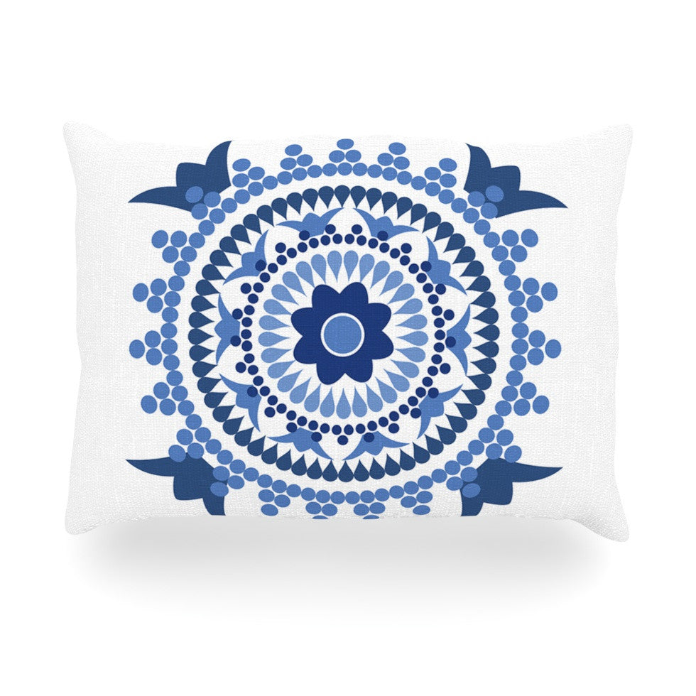 "Carolyn Greifeld ""Bohemian Blues"" Blue White Oblong Pillow - KESS InHouse"