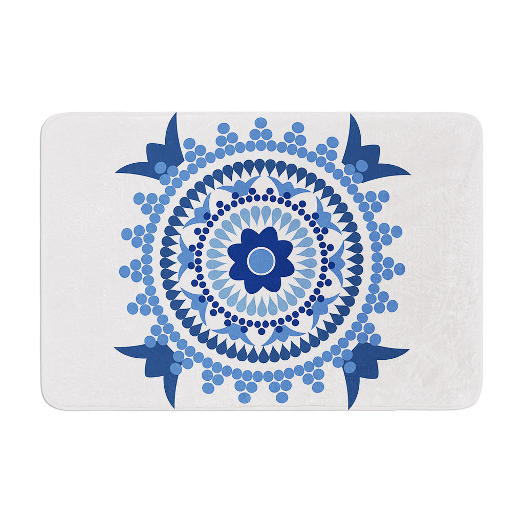 "Carolyn Greifeld ""Bohemian Blues"" Blue White Memory Foam Bath Mat - KESS InHouse"