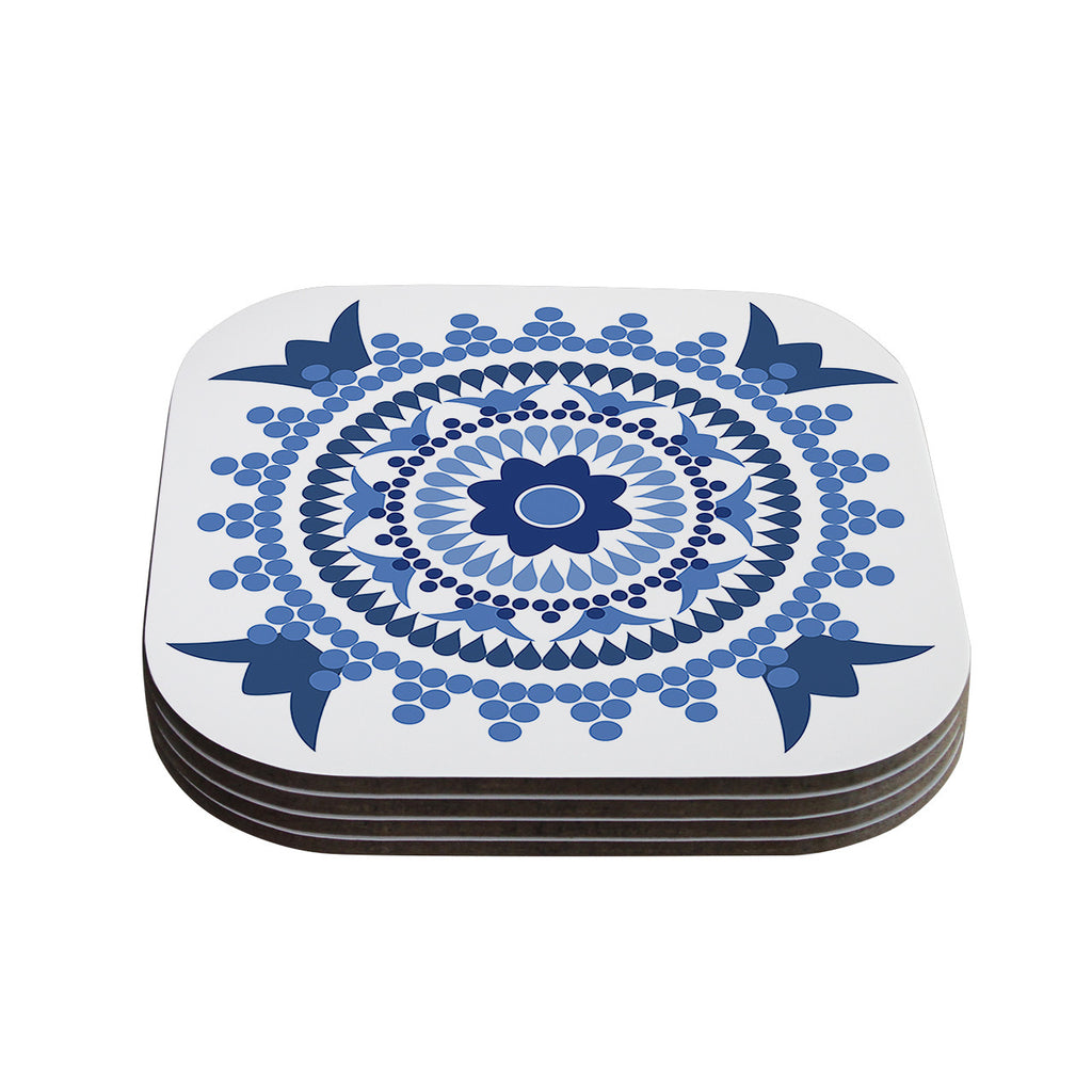 "Carolyn Greifeld ""Bohemian Blues"" Blue White Coasters (Set of 4)"