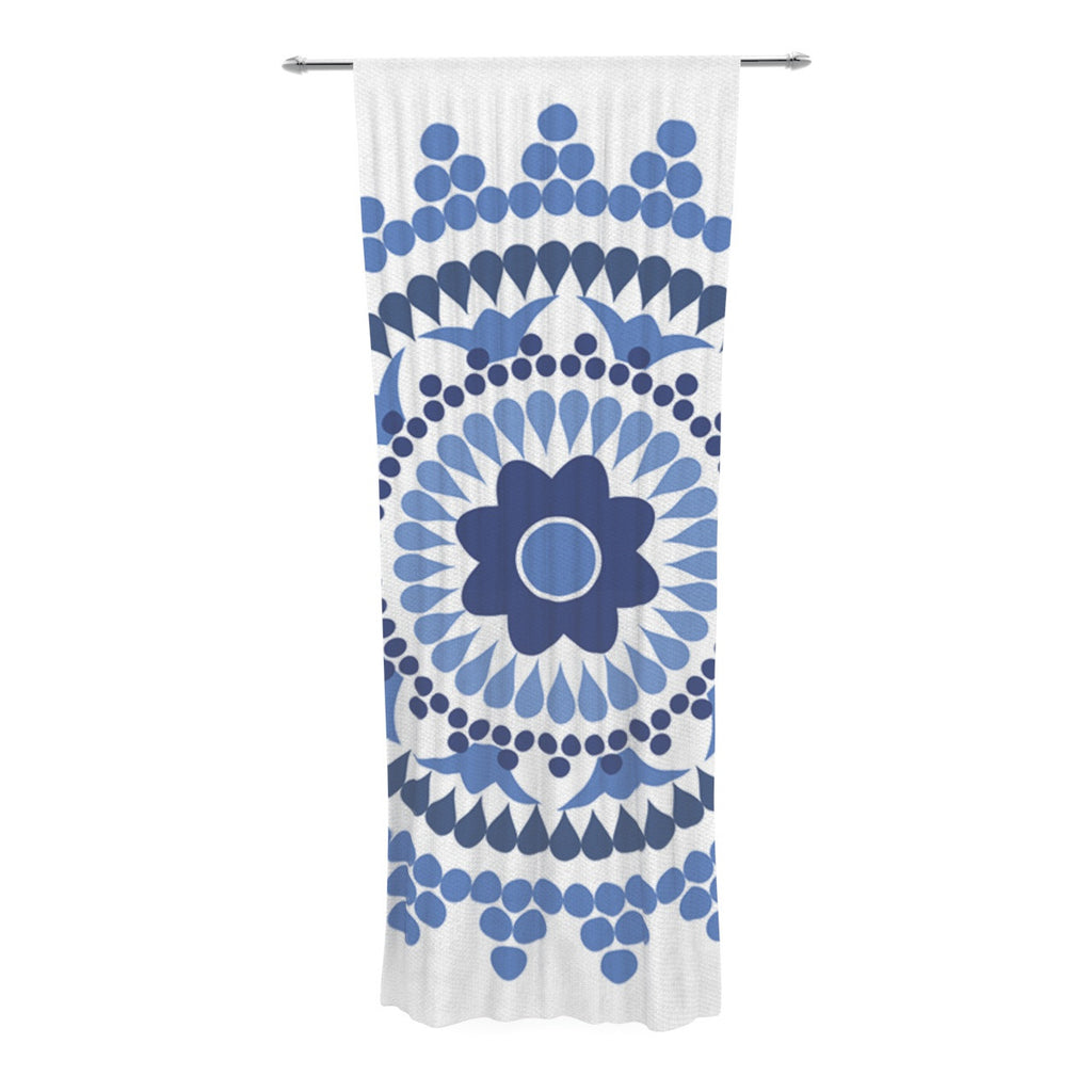 "Carolyn Greifeld ""Bohemian Blues"" Blue White Decorative Sheer Curtain - KESS InHouse  - 1"