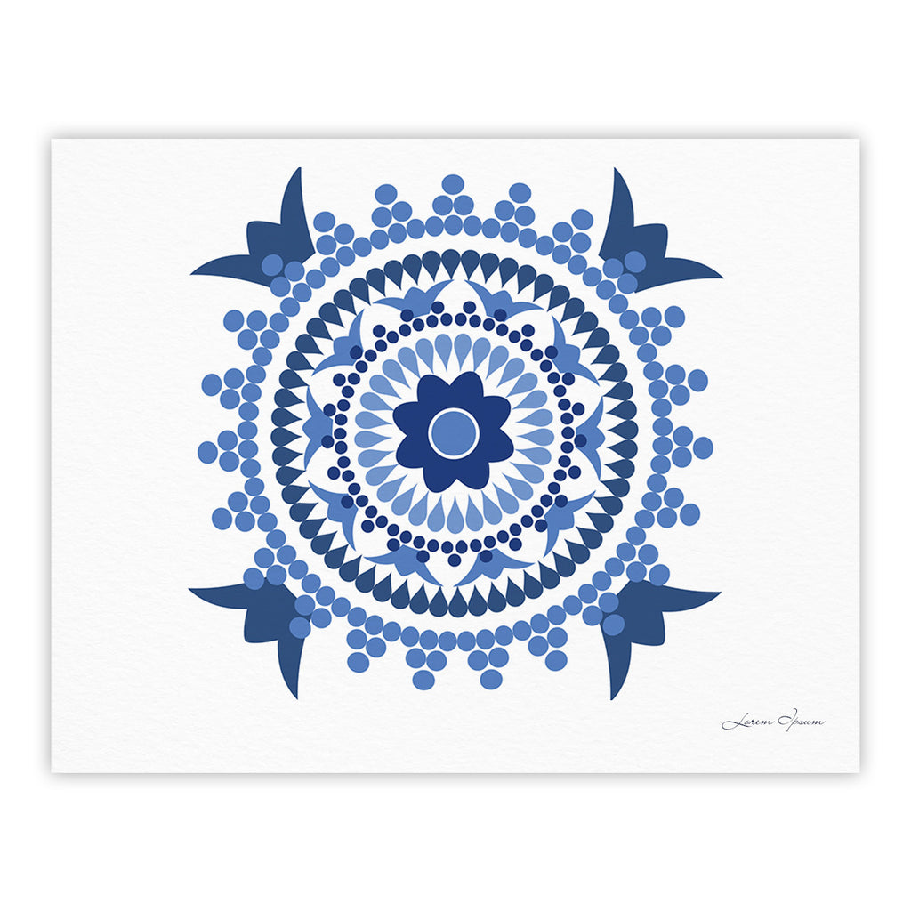 "Carolyn Greifeld ""Bohemian Blues"" Blue White Fine Art Gallery Print - KESS InHouse"