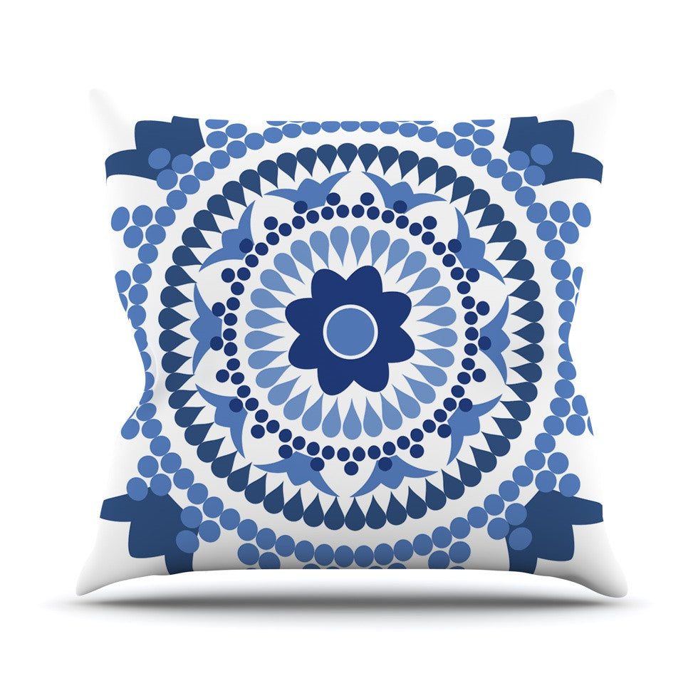 "Carolyn Greifeld ""Bohemian Blues"" Blue White Throw Pillow - KESS InHouse  - 1"