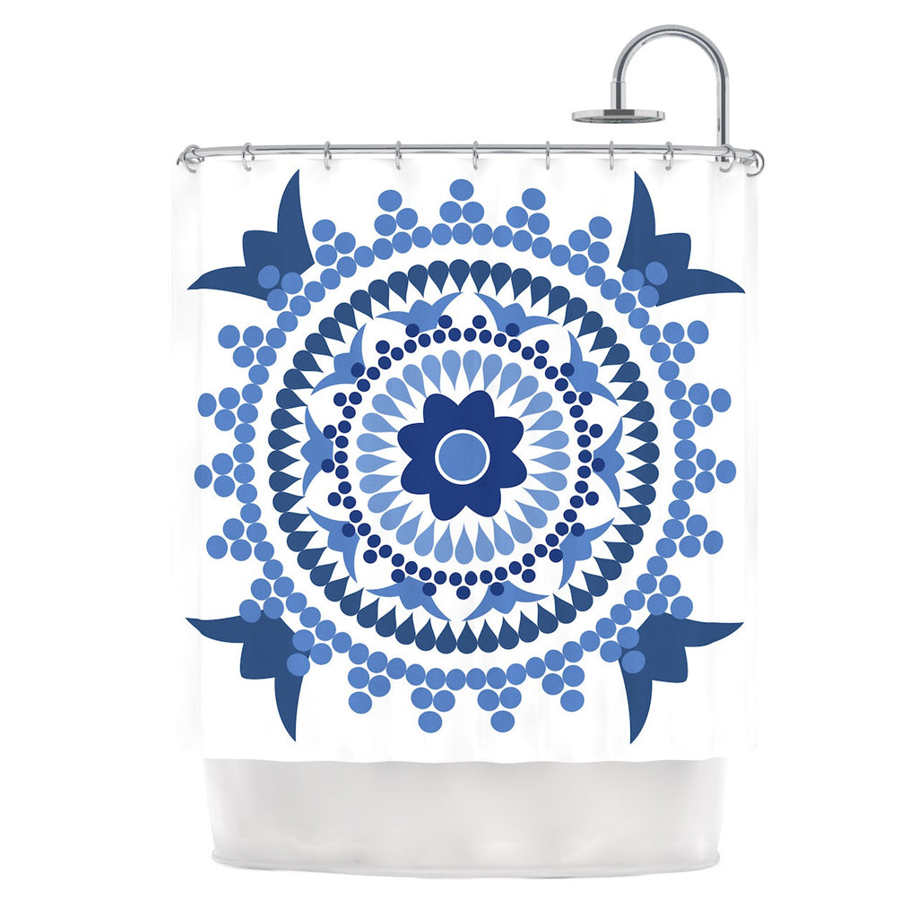 "Carolyn Greifeld ""Bohemian Blues"" Blue White Shower Curtain - KESS InHouse"