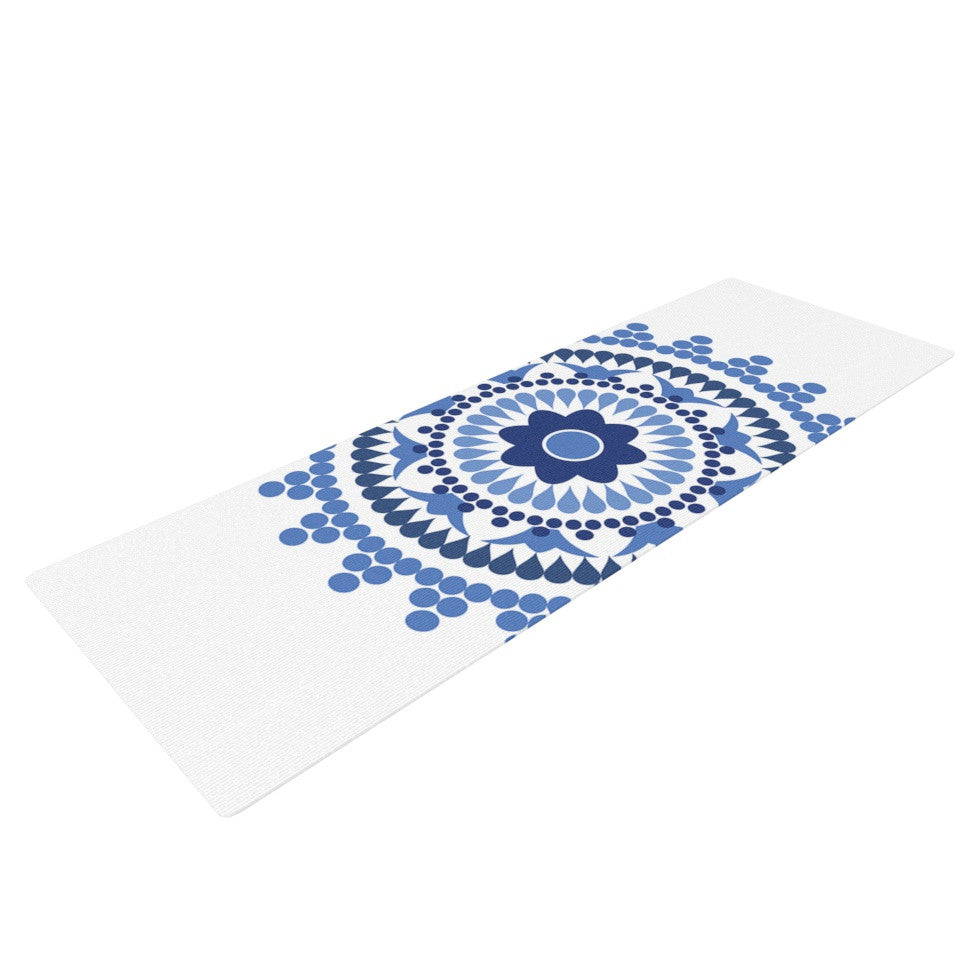 "Carolyn Greifeld ""Bohemian Blues"" Blue White Yoga Mat - KESS InHouse  - 1"