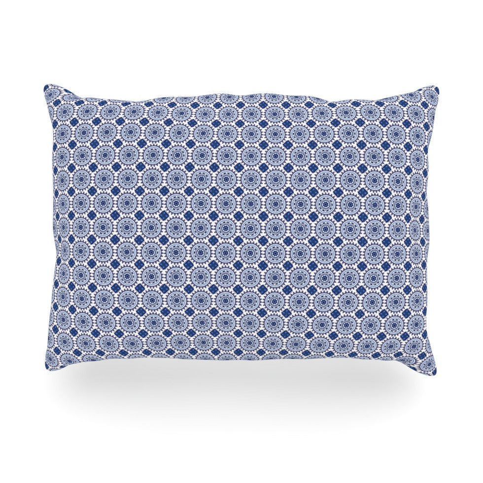 "Carolyn Greifeld ""Bohemian Blues II"" Blue Geometric Oblong Pillow - KESS InHouse"