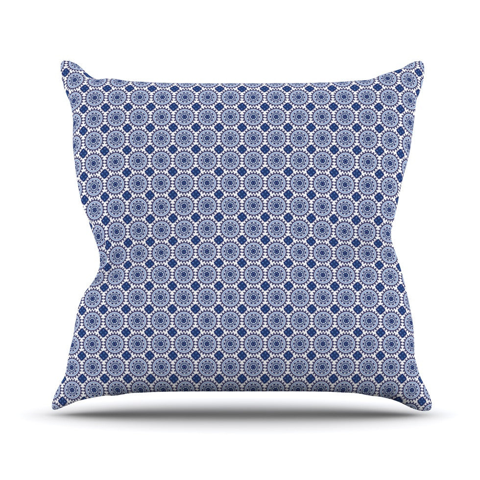 "Carolyn Greifeld ""Bohemian Blues II"" Blue Geometric Outdoor Throw Pillow - KESS InHouse  - 1"
