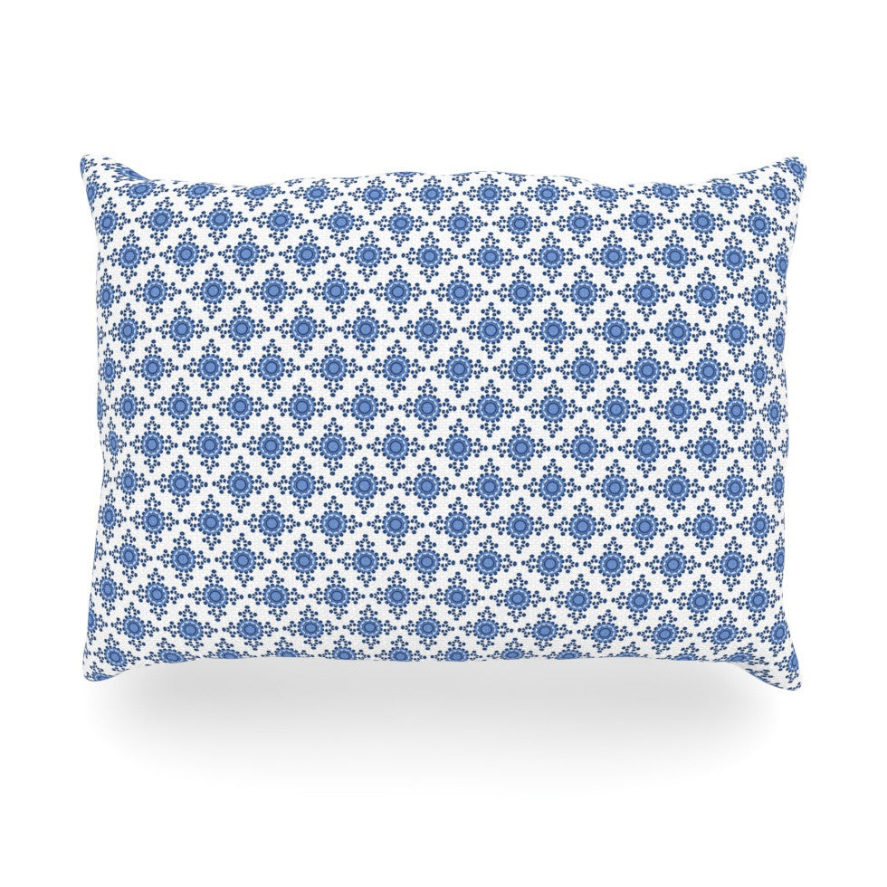 "Carolyn Greifeld ""Bohemian Blues III"" White Blue Oblong Pillow - KESS InHouse"
