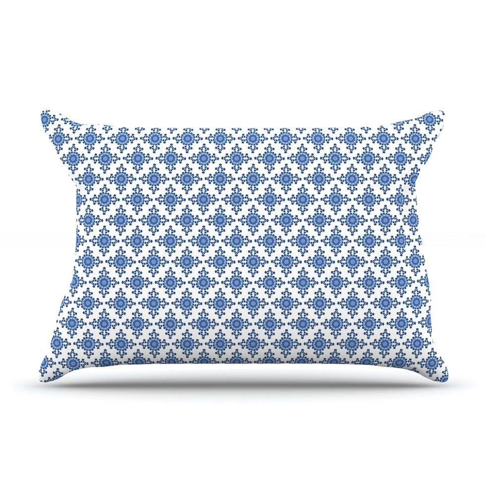 "Carolyn Greifeld ""Bohemian Blues III"" White Blue Pillow Sham - KESS InHouse"