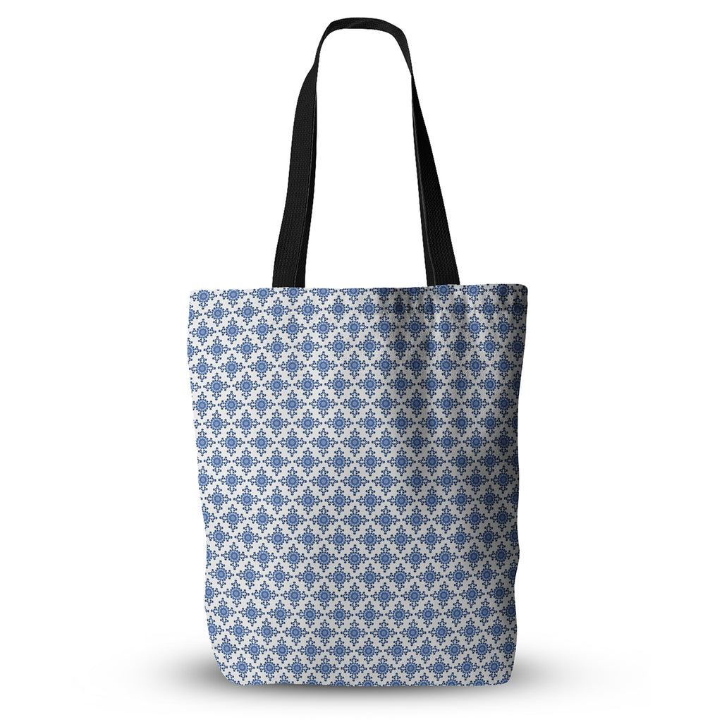 "Carolyn Greifeld ""Bohemian Blues III"" White Blue Everything Tote Bag - KESS InHouse  - 1"