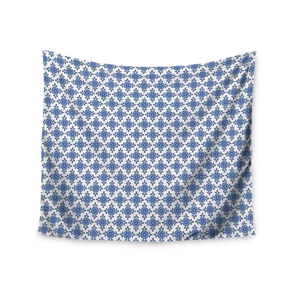 "Carolyn Greifeld ""Bohemian Blues III"" White Blue Wall Tapestry - KESS InHouse  - 1"