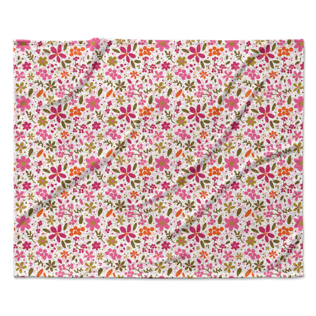 "Carolyn Greifeld ""Pink Flowers Garden"" Pink Red Fleece Throw Blanket"