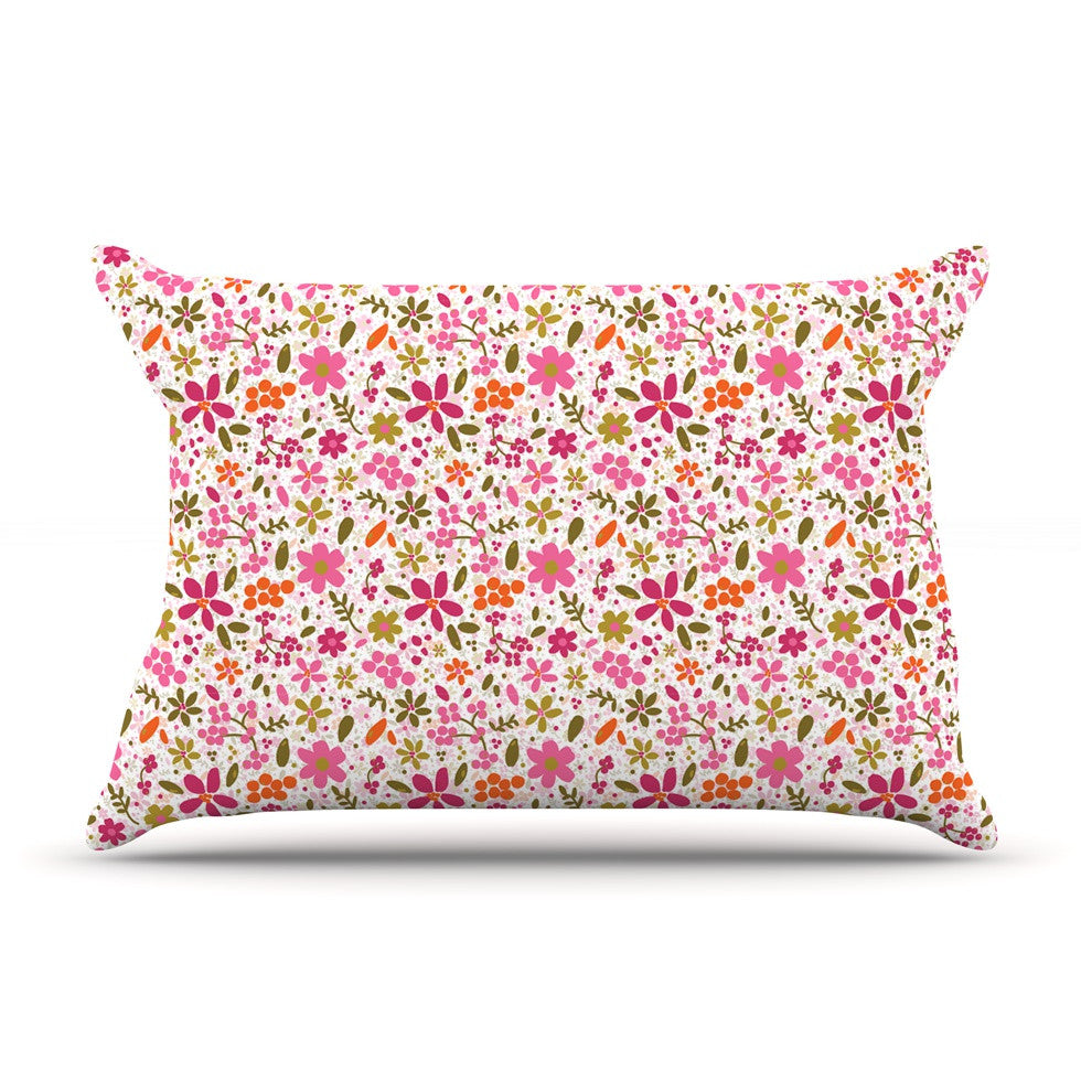 "Carolyn Greifeld ""Pink Flowers Garden"" Pink Red Pillow Sham - KESS InHouse"