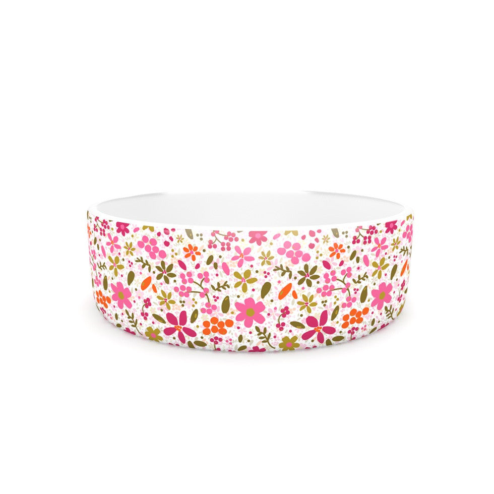 "Carolyn Greifeld ""Pink Flowers Garden"" Pink Red Pet Bowl - KESS InHouse"
