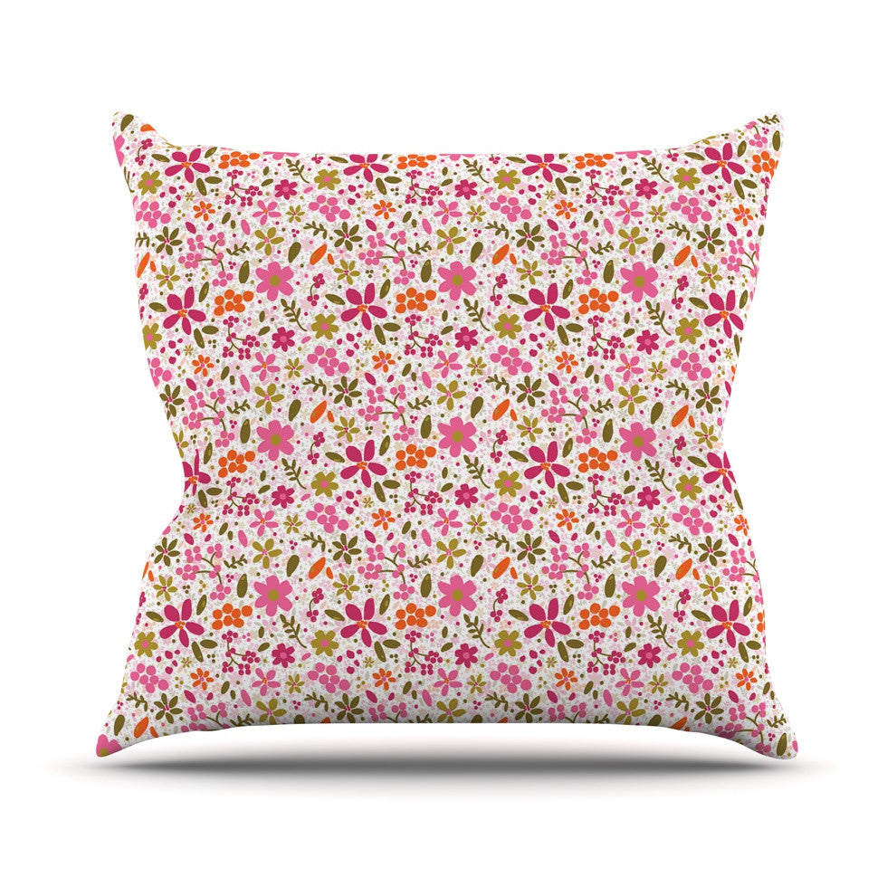 "Carolyn Greifeld ""Pink Flowers Garden"" Pink Red Outdoor Throw Pillow - KESS InHouse  - 1"